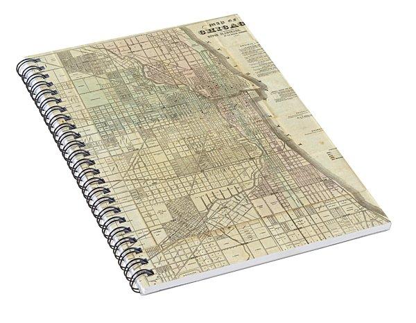 Vintage Map Of Chicago - 1857 Spiral Notebook