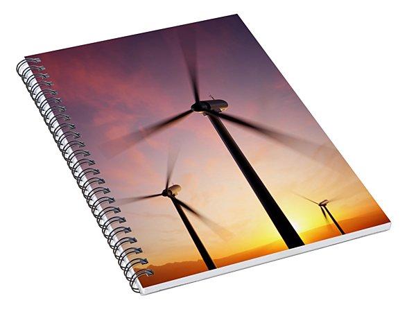 Wind Turbine Blades Spinning At Sunset Spiral Notebook