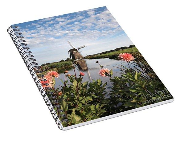 Windmill Landscape In Holland Spiral Notebook