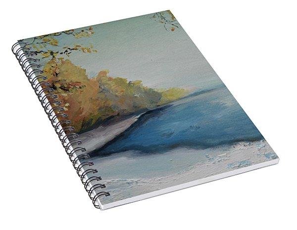 Winter Starts At Kymi River Spiral Notebook