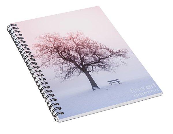 Winter Tree In Fog At Sunrise Spiral Notebook