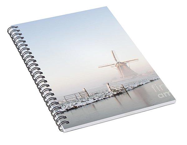 Winter Windmill Landscape In Holland Spiral Notebook
