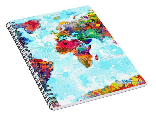 World Map Spattered Paint Spiral Notebook