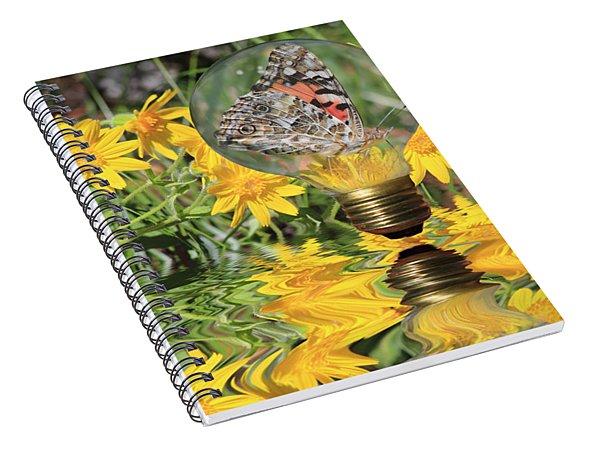 Butterfly In A Bulb II - Landscape Spiral Notebook