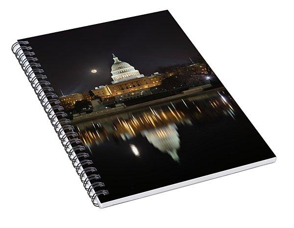 Digital Liquid - Full Moon At The Us Capitol Spiral Notebook