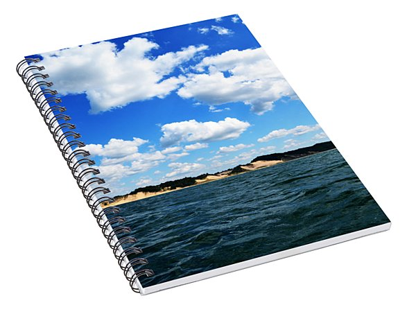 Lake Michigan Shore With Clouds Spiral Notebook