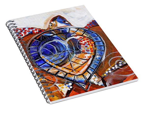 Sea Turtle Love - Orange And White Spiral Notebook