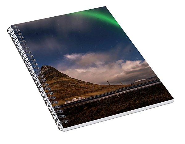 Spiral Notebook featuring the photograph Aurora Blast Kirkjufell, Iceland by Pradeep Raja PRINTS