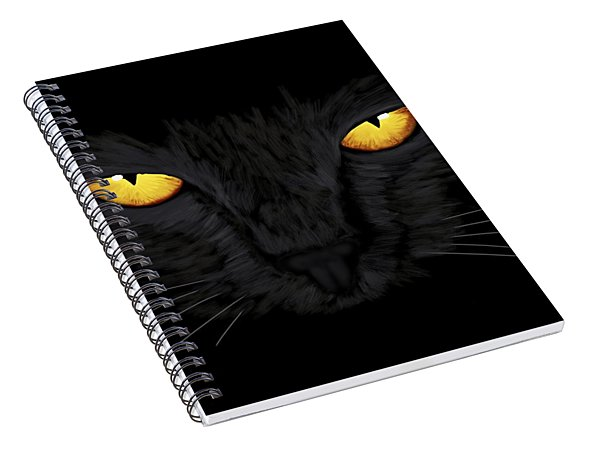 Spiral Notebook featuring the painting Superstitious Cat by Anastasiya Malakhova
