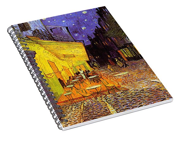 Spiral Notebook featuring the painting Cafe Terrace At Night by Van Gogh