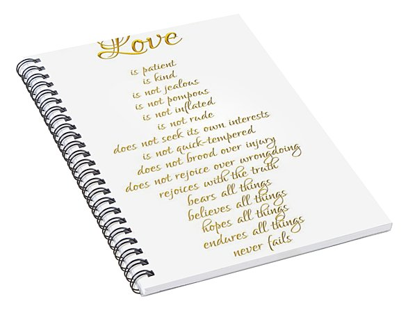 1 Corinthians 13 Love Is White Background Spiral Notebook