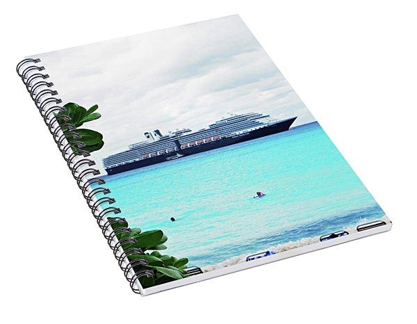 Cruise Ship At Half Moon Cay Spiral Notebook