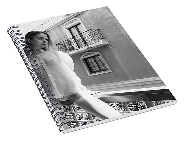 Girl On Balcony Spiral Notebook