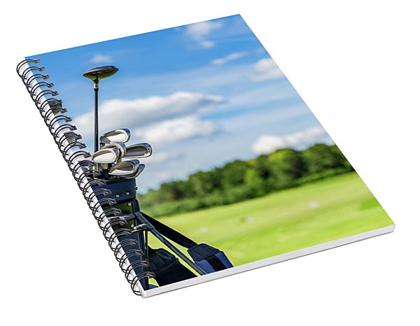 Golf Equipment Bag Standing On A Course. Spiral Notebook