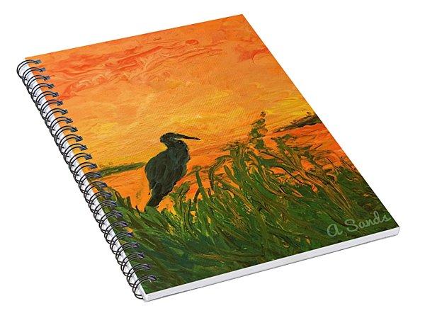 Heron At Sunset Spiral Notebook
