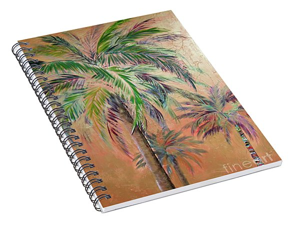 Spiral Notebook featuring the painting Copper Trio Of Palms by Kristen Abrahamson