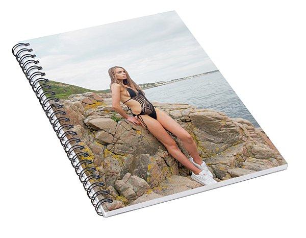 Girl In Black Swimsuit Spiral Notebook