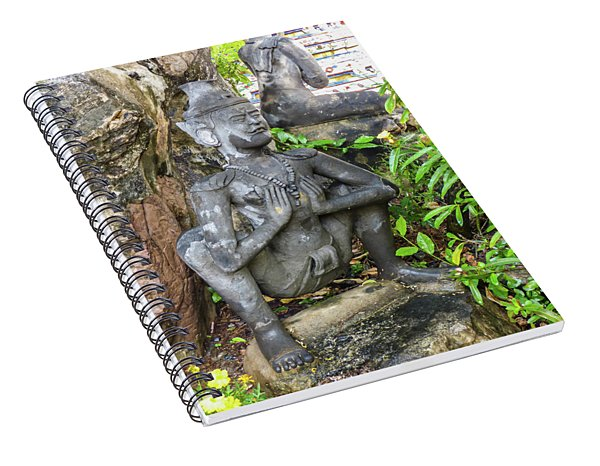 Statue Depicting A Thai Yoga Pose At Wat Pho Temple Spiral Notebook