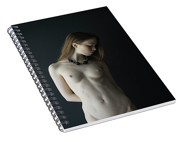 Young Woman In Front Of Black Wall Spiral Notebook