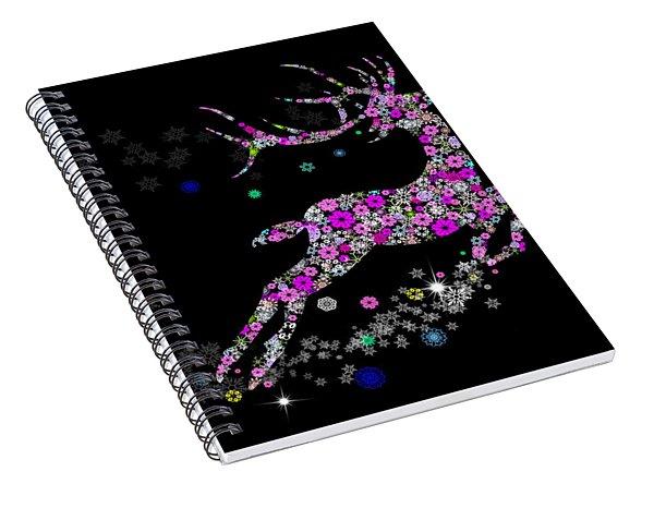 Reindeer Design By Snowflakes Spiral Notebook