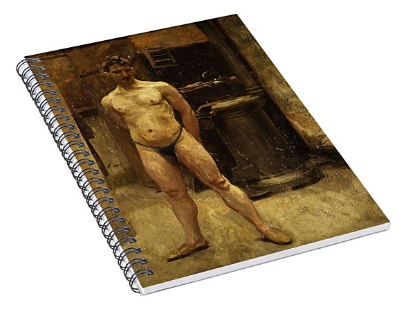 A Male Model Standing Before A Stove John Singer Sargent Spiral Notebook