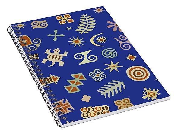 Adinkra Navy Folk Art Spiral Notebook