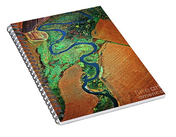 Aerial Farm Wet Lands Stream  Spiral Notebook