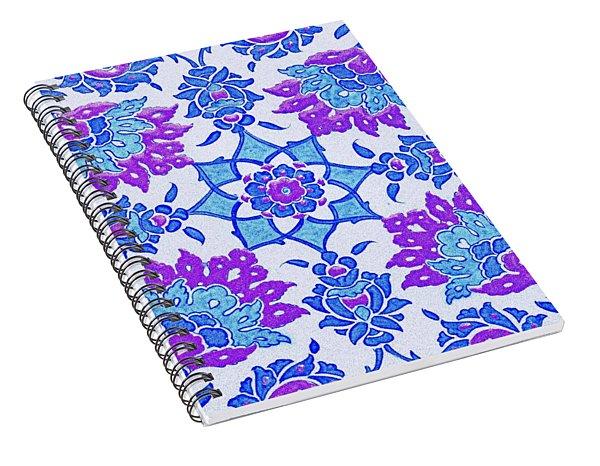 An Ottoman Iznik Style Floral Design Pottery Polychrome, By Adam Asar, No 13i Spiral Notebook