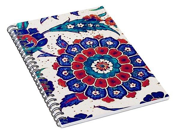 An Ottoman Iznik Style Floral Design Pottery Polychrome, By Adam Asar, No 37 B Spiral Notebook