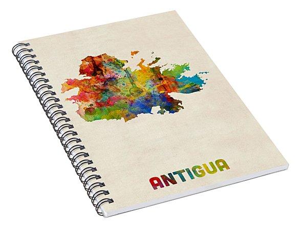 Antigua Watercolor Map Spiral Notebook