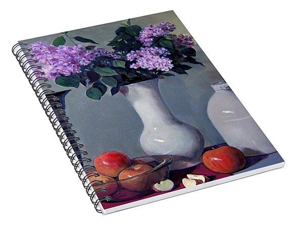 Apples And Lilacs,silver Vase,vintage Stoneware Jug Spiral Notebook