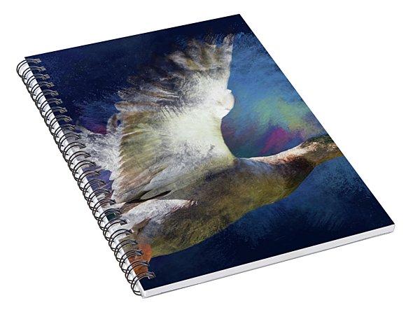 Artistic Duck In Flight Spiral Notebook