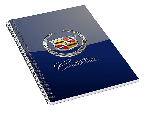 Cadillac 3 D  Badge Special Edition On Blue Spiral Notebook