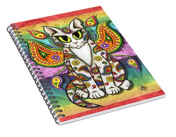 Rainbow Paisley Fairy Cat Spiral Notebook