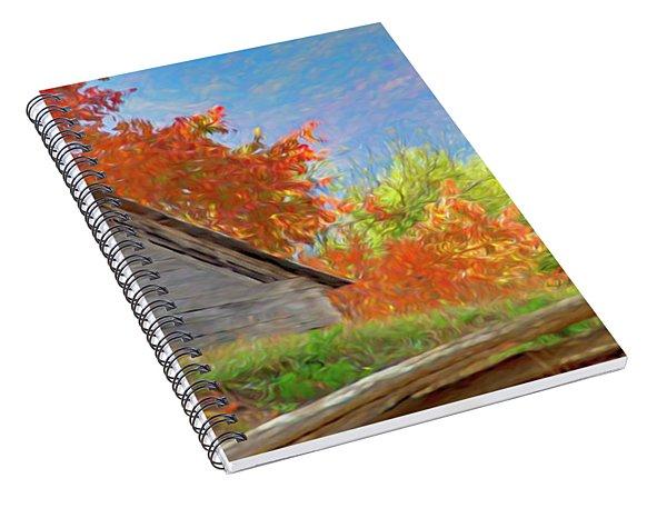 Autumn Barn Digital Watercolor Spiral Notebook