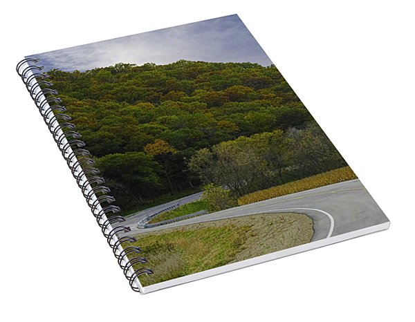 Autumn Motorcycle Rider / Red Spiral Notebook