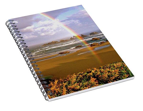 Bandon Beach Rainbow Sunrise Spiral Notebook