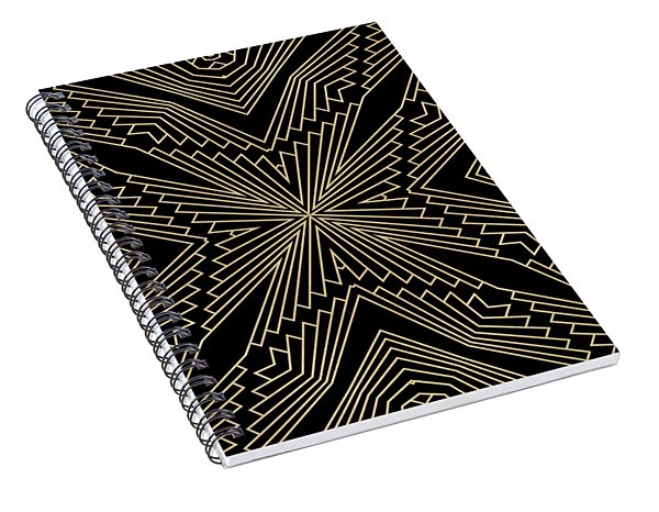 Black And Gold Art Deco Filigree 003 Spiral Notebook