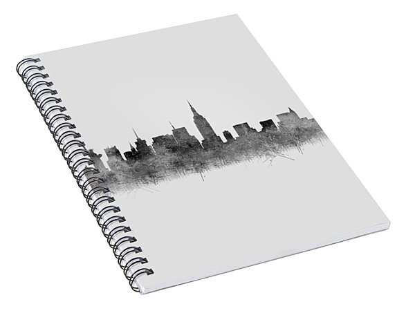 Spiral Notebook featuring the digital art Black And White New York Skylines Splashes And Reflections by Georgeta Blanaru