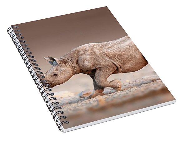 Black Rhinoceros Baby Running Spiral Notebook