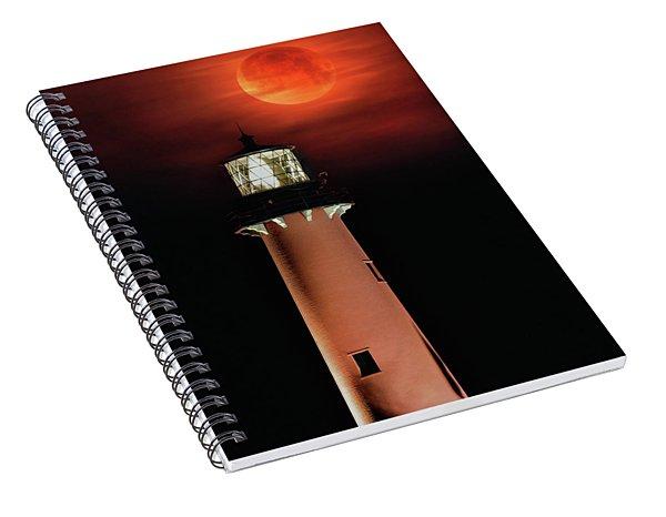 Blood Moon Rising Over Jupiter Lighthouse In Florida Spiral Notebook