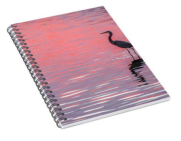 Blue Heron - Pink Water Spiral Notebook