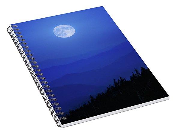 Blue Moon Over Smoky Mountains Spiral Notebook