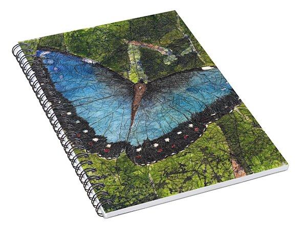 Blue Morpho Butterfly Batik Spiral Notebook