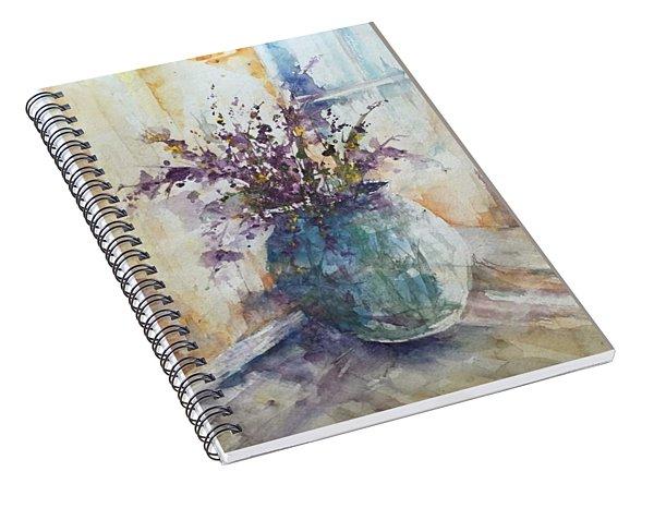 Blue Vase Of Lavender And Wildflowers Aka Vase Bleu Lavande Et Wildflowers  Spiral Notebook