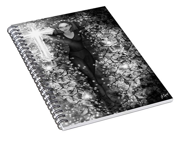 Breaking Through Darkness - Black And White Fantasy Art Spiral Notebook