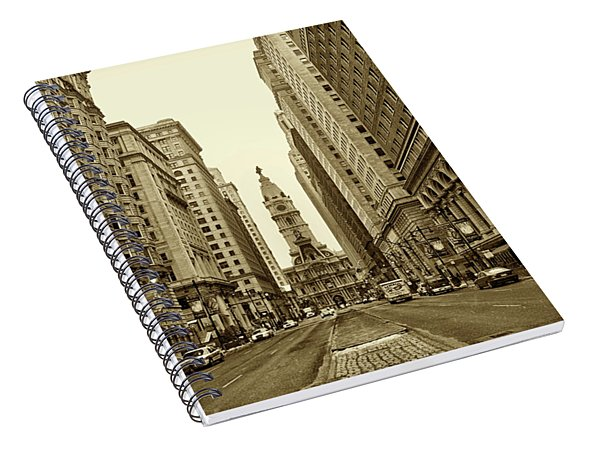 Broad Street Facing Philadelphia City Hall In Sepia Spiral Notebook