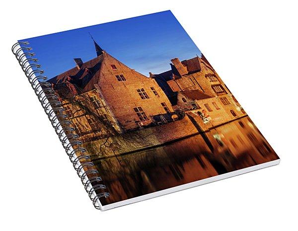 Bruges Architecture At Blue Hour Spiral Notebook
