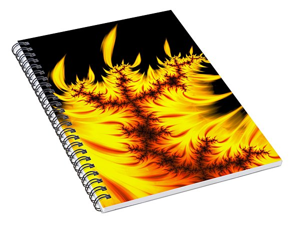 Burning Fractal Flames Warm Yellow And Orange Spiral Notebook