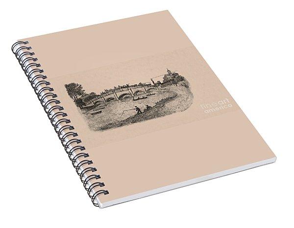 Busy Richmond Bridge And Fishermen Spiral Notebook